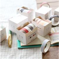 Washi Tape set of 5pcs / Masking Tape / Selotip Jepang Basic - Motif D