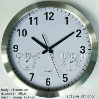 Jam Dinding Besar Alumunium 40cm + Chrono Aktif Mesin 12888 Step Bagus