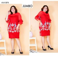 Dress Batik Jumbo 541 Baju Katun Bigsize Kombinasi Brokat vol56