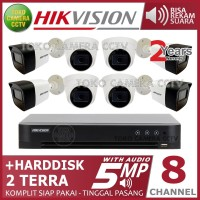 PAKET CCTV HIKVISION 5MP 8 CHANNEL AUDIO HDD 2TB