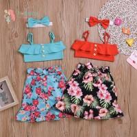 Baby Girl Cute Tube Top And Printed Skirt And Headband Kit