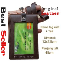 Id Card Holder Double Flip Magnet Tali Kulit Coklat