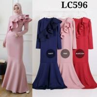 RESTOCK Gamis LC596 dress muslim duyung gamis 596 gamis pesta layer