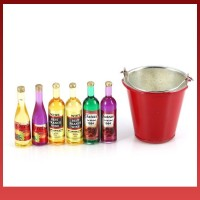 Fs Metal Simulation Bucket and Six Wine Bottles Decoration Kit