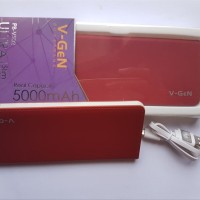 Power bank V-gen V502 5000 MAH merah slim real capacity garansi 1 TH