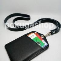 name tag kalung -nametag kulit asli -id card holder -gantungan id