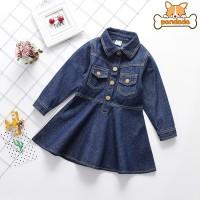 Dress Denim Casual Anak Perempuan Lengan Panjang untuk Musim Gugur