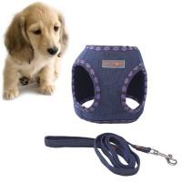 Set Rompi Harness+Tali Tuntun Anjing Bahan Jeans Lembut Gaya Koboi