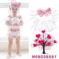 NAB-Newborn Baby Girl Ruffle Top+Lace Tassel Shorts+Headband 3Pcs