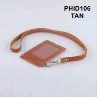 gantungan ID card kulit asli warna TAN PHID106