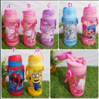 Botol Minum Anak Sedot Unicorn Spiderman Frozen Hello Kitty Minio