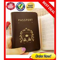 Tempat Pasport Kulit sintetis / Passport Cover / Dompet Pasport BROWN