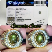 Bangsing Kresna - Natural 12 ray Star Green Sapphire 2.26 ct - SKY lab