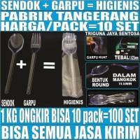 Sendok garpu plastik higienis set bening ecer