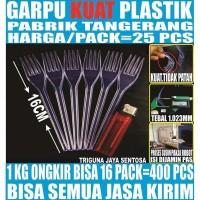 Garpu makan bening 25 pcs per pack plastik panjang murah