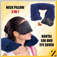 Bantal Leher Angin / travel pillow set 3 in 1 penutup mata telinga set
