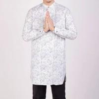 Baju muslim | baju koko motif batik | baju gamis pria - white joni