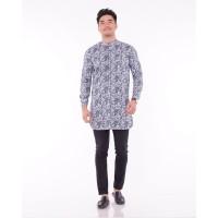Baju muslim | baju koko motif batik | baju gamis pria - WHITE GREY