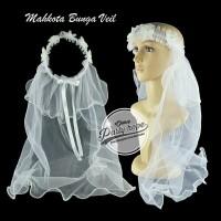 mahkota veil bunga putih / mahkota kain / crown bride to be / all size