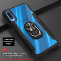 Calandiva Samsung A70 A70s Hard Case Casing Ring Transparent Airbag