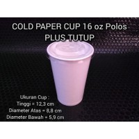 Cold Paper Cup / Gelas Kertas 16 oz Plus Tutup
