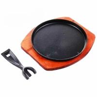 Hot Plate Bulat 24 cm + tatakan kayu