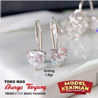 Anting Love white Emas/Mas /Bunga Tanjung
