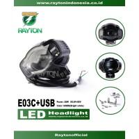 E03C 20W Lampu tembak/sorot/kabut LED dengan Port USB Charger