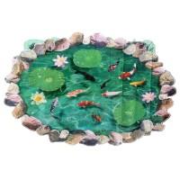 Stiker Dinding dengan Bahan Tahan Air Gambar Ikan dan Bunga Lotus 3D