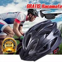 Helm Sepeda EPS Foam PVC Shell Bonus Kacamata