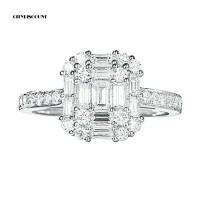 Cincin Kawin / Tunangan Hias Berlian Imitasi Glitter Bentuk Kotak