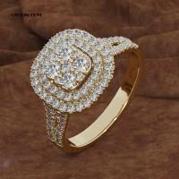 Cincin Kawin / Tunangan Full Berlian Imitasi Bentuk Kotak untuk