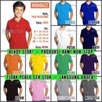 Kaos Polo Shirt / Kerah Polos MONDAZE - Anak - Pendek - size XL, Hijau