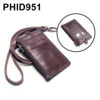 PHID951 gantungan dompet ID card holder kulit tali zipper kartu banyak