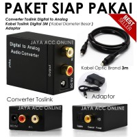 Paket Kabel Toslink 3m + CONVERTER (Optic)Digital to (Rca)Analog Audio