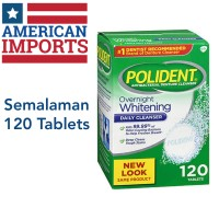 Polident Overnight Whitening Antibacterial Denture Cleanser Tablets