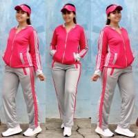 Setelan Baju Senam Lapangan Adidas Pink Abu Zumba Aerobik Hijab Muslim