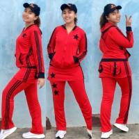 Setelan Baju Senam Lapangan Rok Merah Hitam Zumba Aerobik Hijab Muslim