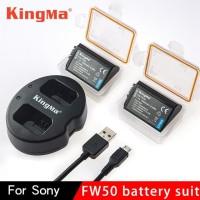 KingMa Dual Charger+2 Baterai Sony Alpha A6300 A6500 A7 Series KM FW50