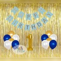 Paket Dekorasi Hiasan Balon Ulang Tahun Happy Birthday Tema Gold 03