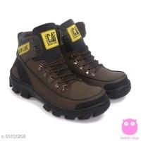 sepatu pria boot safety CATpilar argon MBC ujung besi brown