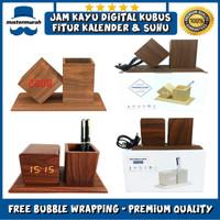 Jam Weker Alarm LED Wood, Watch Meja Digital Motif Kayu Tempat Pensil