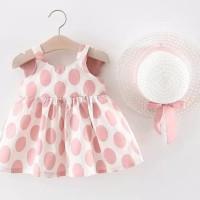 Dress Bayi-Anak Perempuan Princess+Topi Model Pita