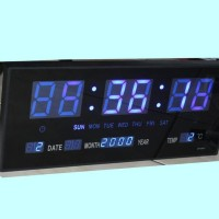 Jam dinding digital 35x15 cm LED BIRU Kwalitas 1 adaptor power