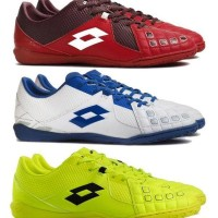 Sepatu Futsal Lotto Squadra IN - Black Heart Red White Safety Yellow