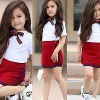 Setelan Kaos T-Shirt Katun Anak Perempuan Lengan Pendek + Rok Mini