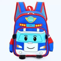 Tas Sekolah Ransel Robocar Car Poli 14.5 untuk Anak Laki-laki /