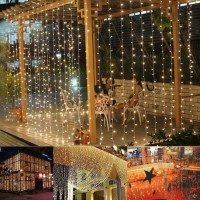 Sos Lampu Natal 3mx3m 300 LED String Lights Curtain Lights