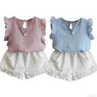 Fashion Girls Children Casual Pearl Sleeveless Chiffon Blouse +