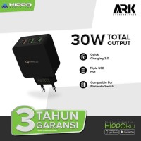 BATOK CHARGER Adaptor HIPPO ARK 30W 3 USB Port 3A Quick Charging 3.0